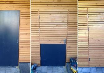 Türe verkleidet in Holzfassade